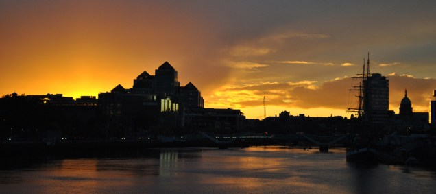 October sunset, Liffey, Dublin Ireland...