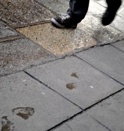 Footsteps and footprints at a damp Pearse Street Station, Dublin, Ireland