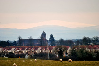 01 April 2013, the snow capped Wicklow Mountains as seen from Kilcock's outskirts.