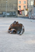 The Cow on Wolfe Tone Square, Dublin Ireland... poor thing, no future out in that barren plaza!
