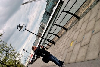 My PoV - the lad capturing the PacMan along the Quays... Samuel Beckett Bridge in the background...