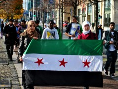 Peaceful protest against the conflict in Syria. Dublin, along the Quays sometime in Oct 2012.