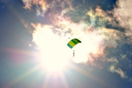Parachute against the sunburst and iridescent sky... thanks camera!