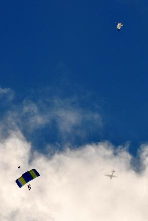 Photo fun... plane and shutes against the sky...