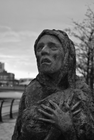 Eerie... as seen on the face of one of Roan Gilllespie's staues on Dublin's Custom House Quay