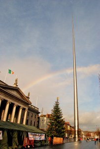 The O'Connell Street Christmas tree is adorned with a rainbow...