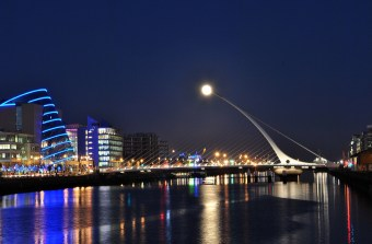 The Cherry? 25 Feb, Full moon adds to the colour... the Convention Center, Samuel Beckett Bridgewith the moon at the tip, al la ET style!!