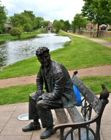Brendan Behan takes a rest along the Royal Canal, Dublin, Ireland