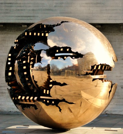 The Sphere in the grounds of Trinity College, Dublin Ireland... the possibilities are endless.