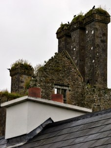 Old chimneys form the backdrop for the stubby new ones...