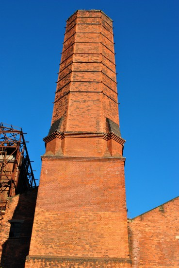 The beautifully built red brick stack of the old Pigeon House Generating Station, Dublin, Ireland