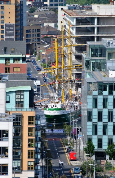Is that what I see? Yes... a tall ship making a U-turn on Dublin's Liffey... truth, I promise!
