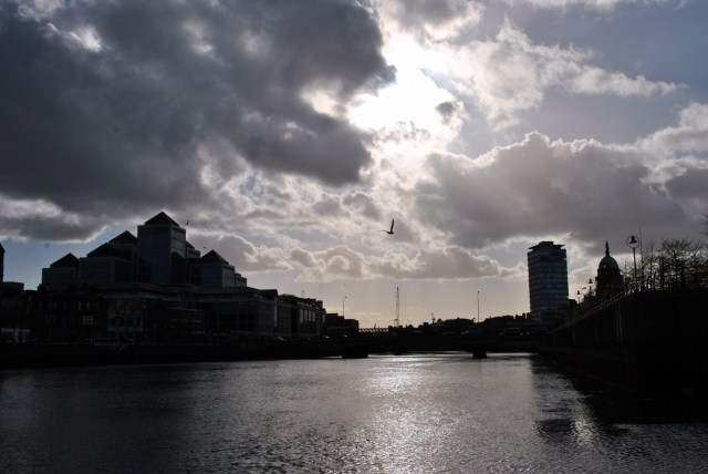 River of silver... Dublin's Liffey  showing off.