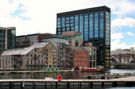 The old warehouses on the Drand Canal Dock look lost against the new Google Docks building...