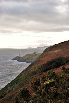 The Howth Lighthouse and Wiclow coast in the distance, taken from Howth Head, looking south. Ireland
