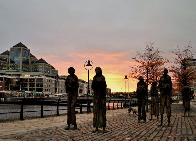 The Famine Statues on a balmy Liffey day...