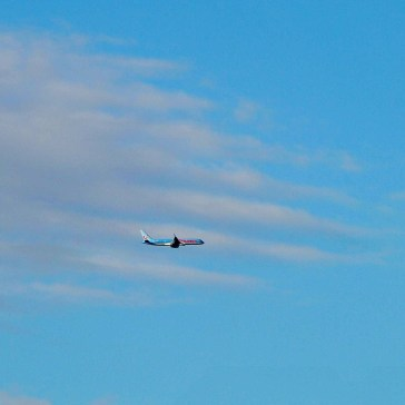 Holiday plane coming in to land at Dublin International, Ireland...