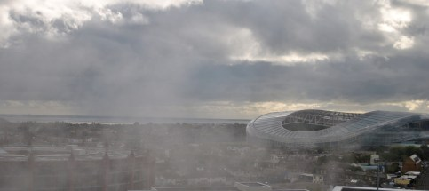 The Aviva through the mist...