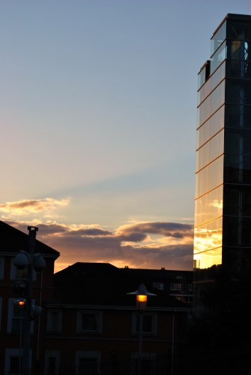 Buildings and sunset...