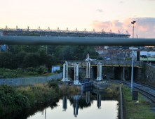"""That """"Effin"""" Bridge, Royal Canal, Dublin, Ireland... note Croke Park in the background..."""