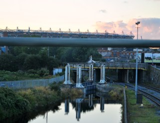 "That ""Effin"" Bridge, Royal Canal, Dublin, Ireland... note Croke Park in the background..."