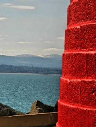 A look at Dublin Mountains from the Poolbeg Lighthouse, 06 April 2013. Yes, there was snow then... HDR treated...