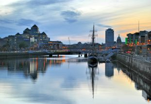 Liffey sunset, the Famine Ship replica Jeanie Johnston moored at Custom House Quay, Dublin, Ireland - HDR fun