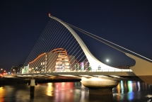 Dublin, Ireland... full moon over the Liffey, The Samuel Beckett Bridge and the Convention Center... bright and cheerful!