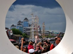 Hello you too! Tall Ships Dublin 2012... through the hole of the Samuel Becket Bridge