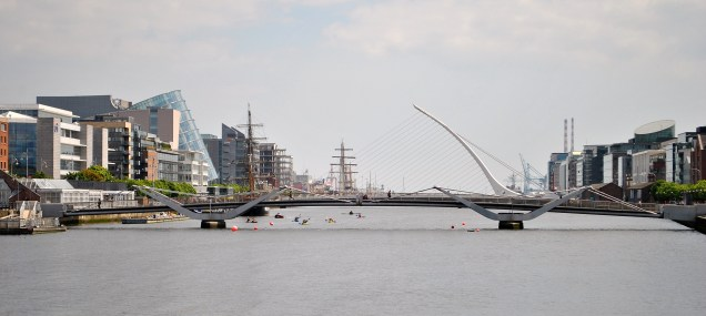 The Liffey in the sunshine... there's a few tall ships to be seen...