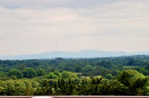 The distant Dublin Mountains (Wicklow Mountainms) as seen from Trim Castle roof... Co Meath, Ireland.
