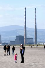 The Poolbeg Chimneys as seen from North Bull Island, Dublin, Ireland