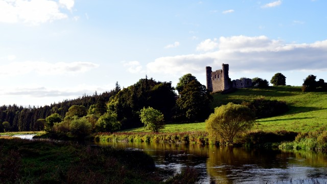 The remains of Dunmoe Castle, overlooking the Boyne north of Navan
