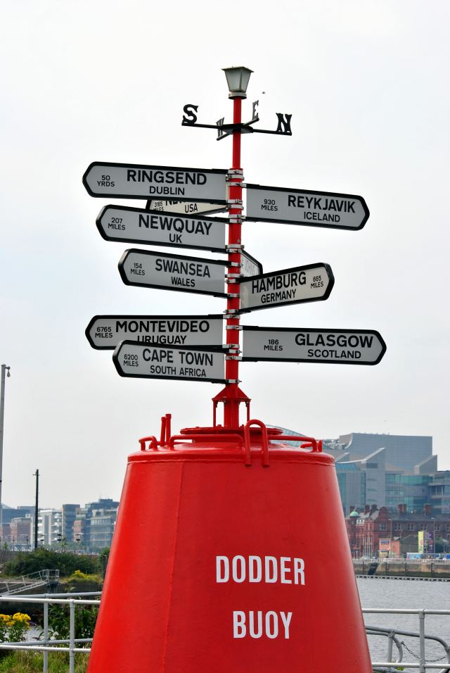 Count them... I see ten... the Dodder Buoy at the sea side of the Liffey... almost in the port..