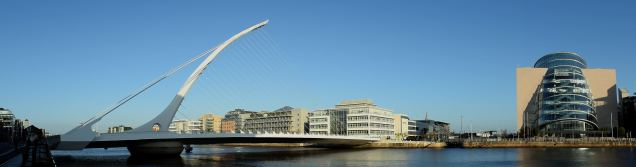 Panorama of Dublin's Samuel Beckett Bridge and the Convention Center