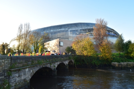 The Aviva Stadium... the crowds start gathering for the Springbok v Ireland test on 08 Nov 2014.