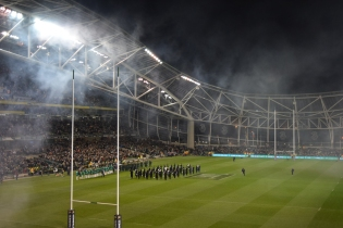 The signing of the Anthems... the Boks were still in the game at this stage! 08 Nov 2014, Aviva Stadium
