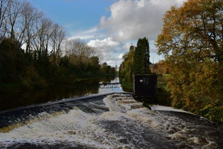 The River Liffey as seen from the Sallans bridge... Co Kildare, Ireland
