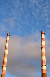 The tops of the Poolbeg Chimneys against a fluffy background... NICE!