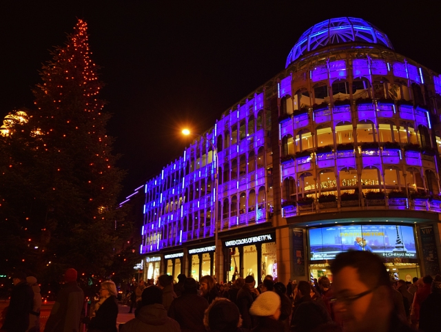 The top of Dublin's Grafton Street... the tree and St Stephens Green Shopping Center light up the night... Dec 2014