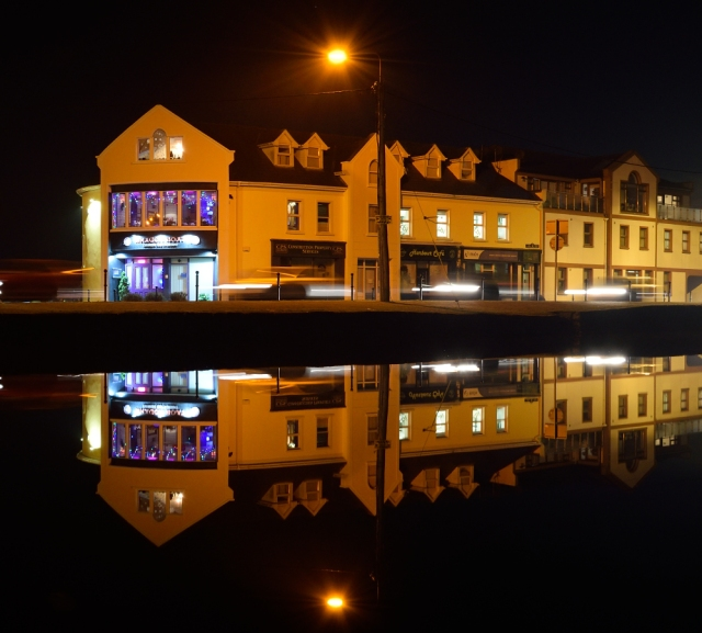 Hometown lights... a bit of Kilcock reflects in the Royal Canal... festive!
