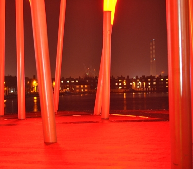 The heat of it all!! The lights in front of the Bord Gas Theater on Dublin's Grand Canal Dock. See the Poolbeg Chimneys in the distance??
