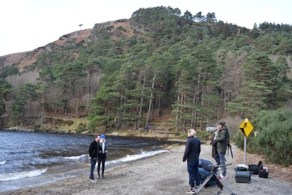 Filming at Glendalough... in a freezing winters gale!!