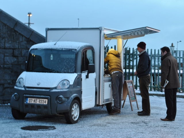 Anyone for coffee? Kilcock station 2 years ago! Warmth in the snow!