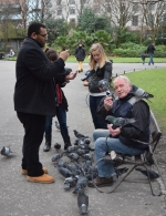 St Stephens Green Pigeon Man... feeding the multitude...
