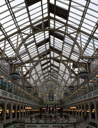 The symmetrical lines of the St Stephens Green Shopping Center roof structure