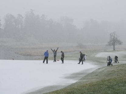 S'no fun! Putting out on the transgormed white at Carton House, Maynooth, Co Kildare.