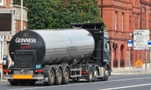 Guinness by the tanker load... down Dublin's Quays to the port. Who knows where that load will end up!