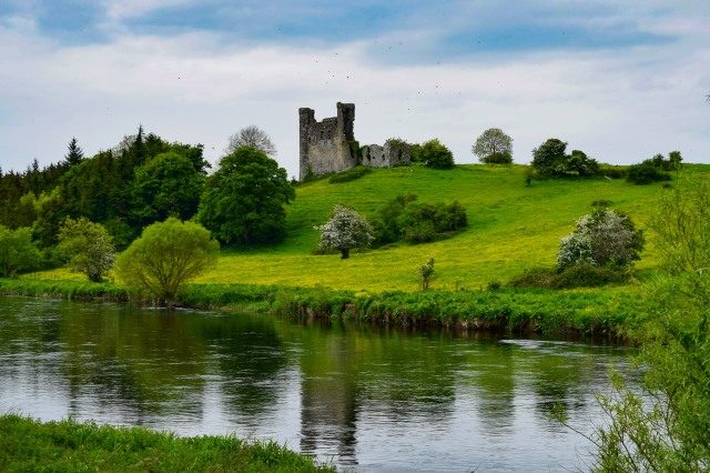 The River Boyne... the walls of Dunmoe Castle add their magic to the spring scene...