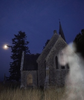 Eerie misty full moon images captured in the Moyvalley Church yard... I wonder??